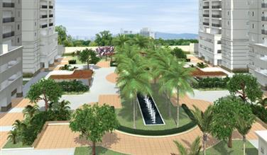Perspectiva ilustrada da praça central
