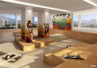 Perspectiva Ilustrada da Pista de Skate Indoor