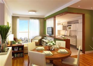 Living do apartamento de 3 dormitórios, sendo 1 suíte - 73m² privativos