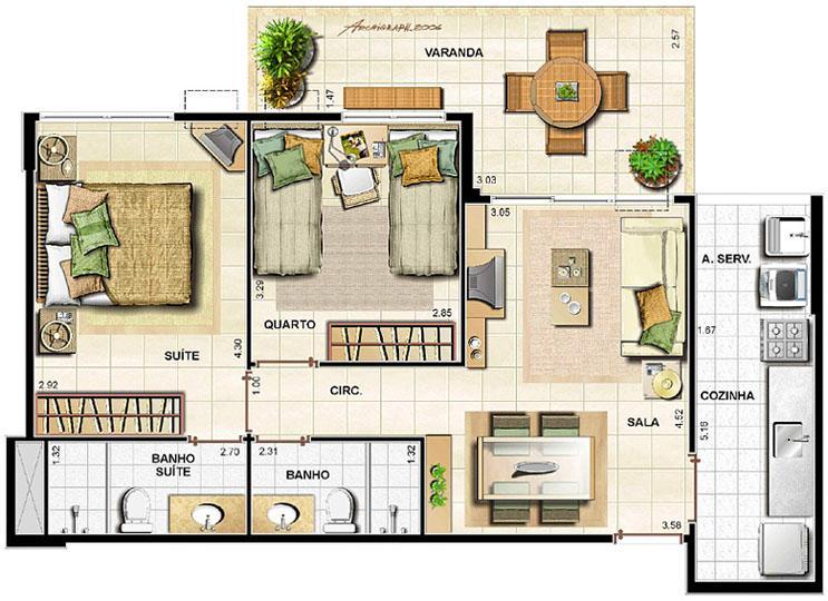 2 quartos   68,70m² | Barra Family Resort – Apartamento na  Barra da Tijuca - Rio de Janeiro - Rio de Janeiro
