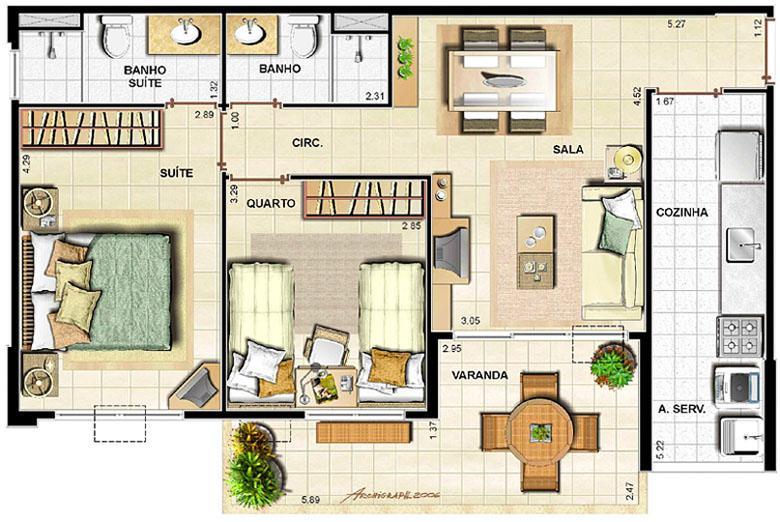 2 quartos   69,54 m² | Barra Family Resort – Apartamento na  Barra da Tijuca - Rio de Janeiro - Rio de Janeiro