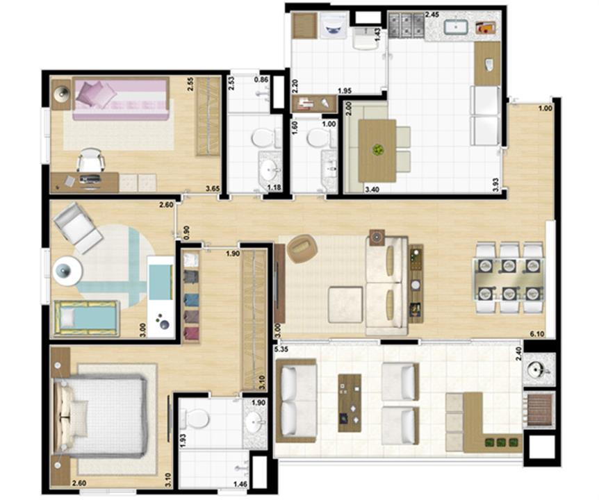 Planta tipo 3 dormitórios com suíte, lavabo e cozinha ampliada - 104 m² privativos | Accanto – Apartamentono  Jardim Anália Franco - São Paulo - São Paulo