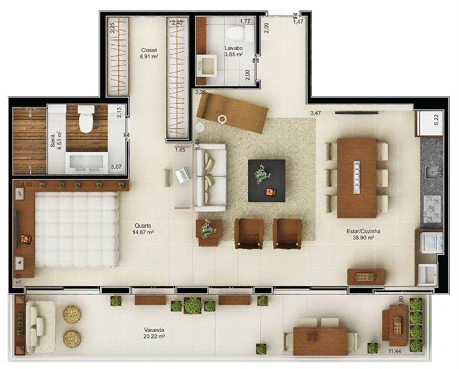 Planta Loft 92,81 m² | Mandarim Salvador Shopping – Apartamento  Ao lado do Salvador Shopping - Salvador - Bahia