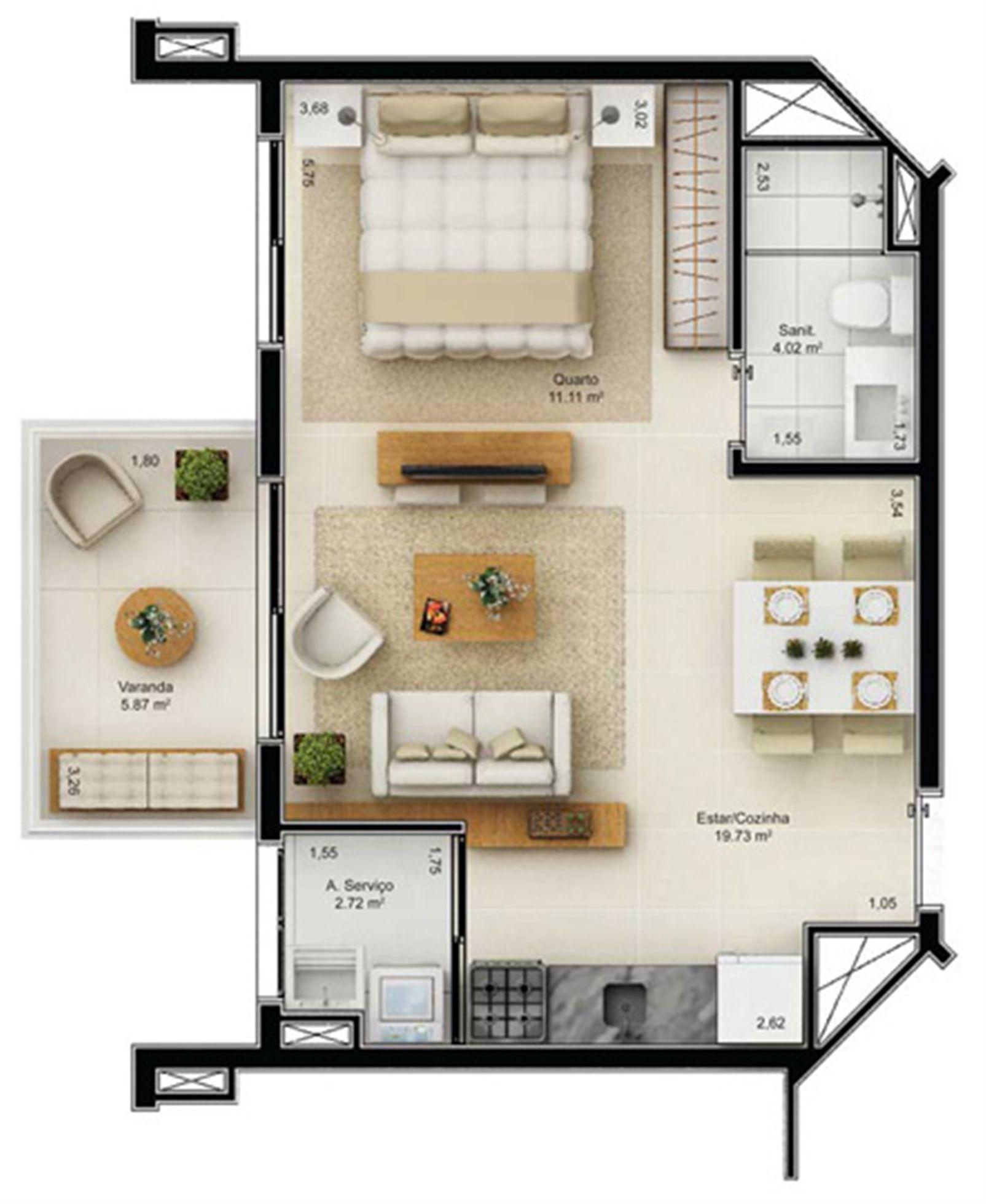 Planta Tipo 43,45 m² | Mandarim Salvador Shopping – Apartamento  Ao lado do Salvador Shopping - Salvador - Bahia