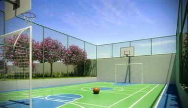 Perspectiva ilustrada da quadra recreativa