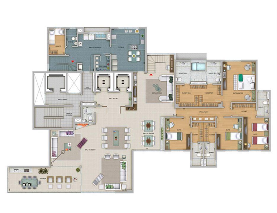 Planta 720 m² | Olympus - Artemis – Apartamentona  Vila da Serra - Nova Lima - Minas Gerais