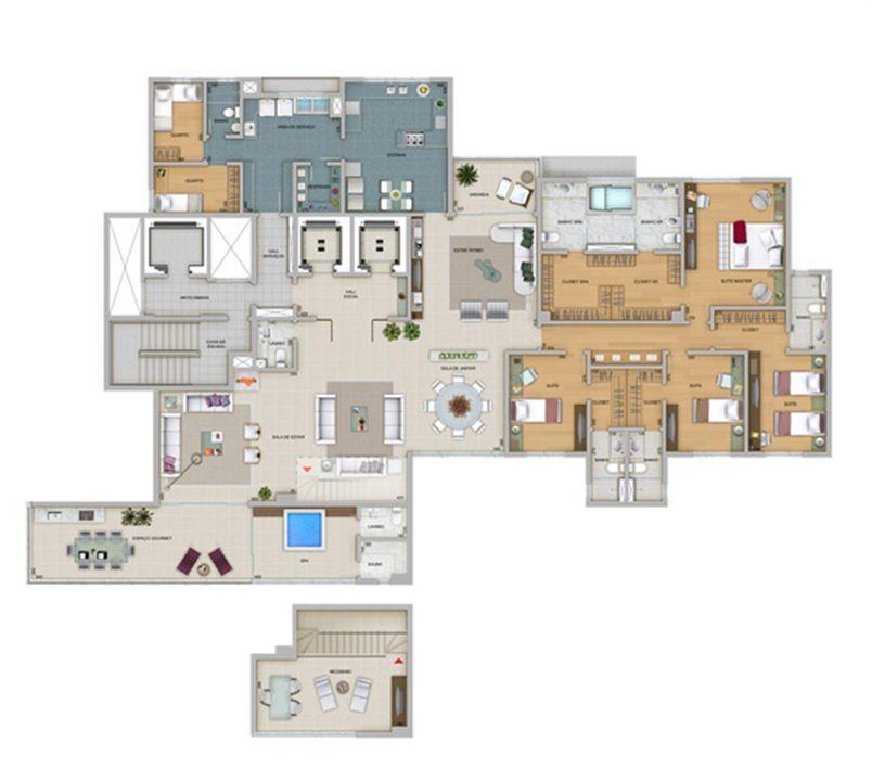 Planta tipo 359,4 m² | Olympus - Artemis – Apartamentona  Vila da Serra - Nova Lima - Minas Gerais