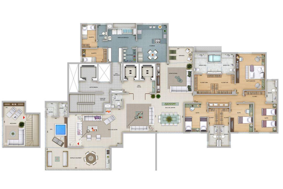 Planta tipo 360 m² | Olympus - Artemis – Apartamentona  Vila da Serra - Nova Lima - Minas Gerais