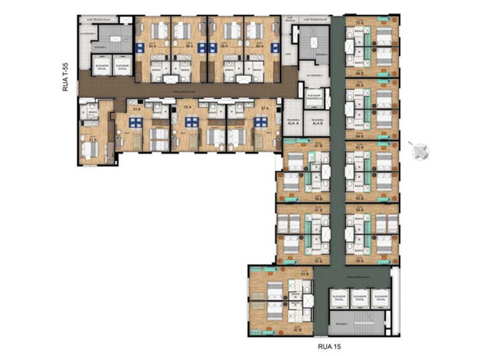 Planta Pavimento Tipo 16º ao 17º | Blend - HotelStyle – Apartamentono  Setor Marista - Goiânia - Goiás