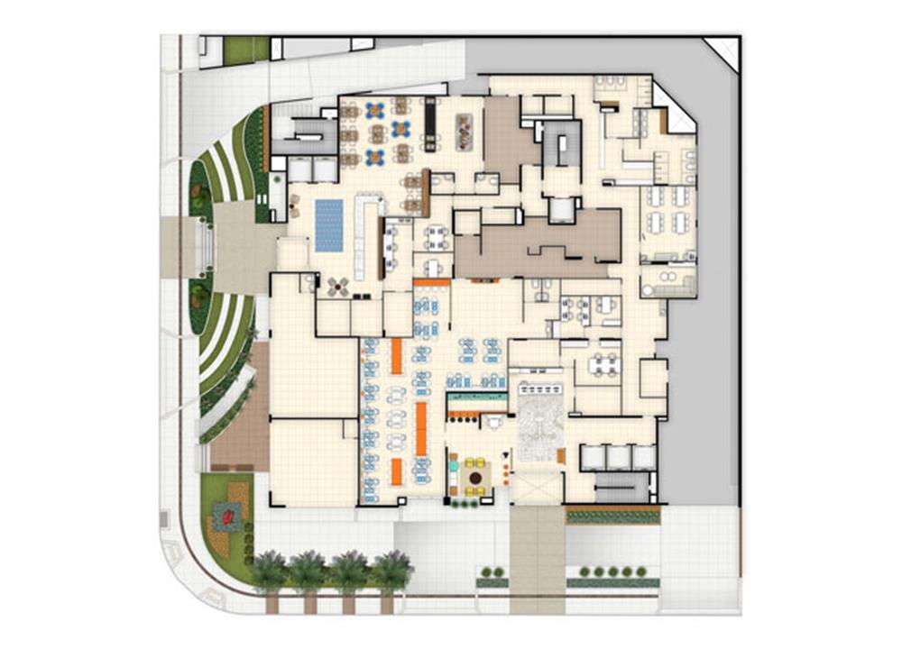 Implantação terreo | Blend - HotelStyle – Apartamentono  Setor Marista - Goiânia - Goiás