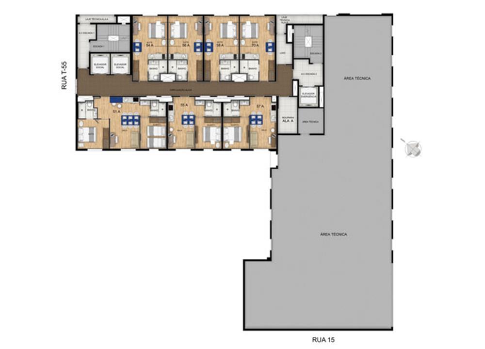 Planta 21º Pavimento | Blend - HotelStyle – Apartamentono  Setor Marista - Goiânia - Goiás