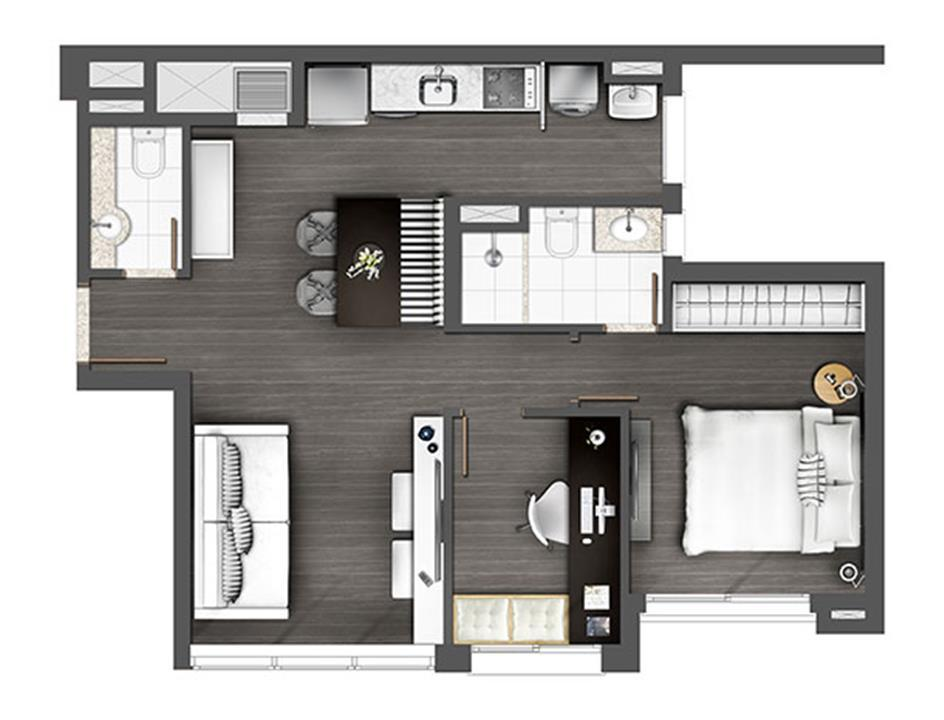 Apartamento 60m² 1D | Axis - Home – Apartamentono  Altos de Petrópolis - Porto Alegre - Rio Grande do Sul