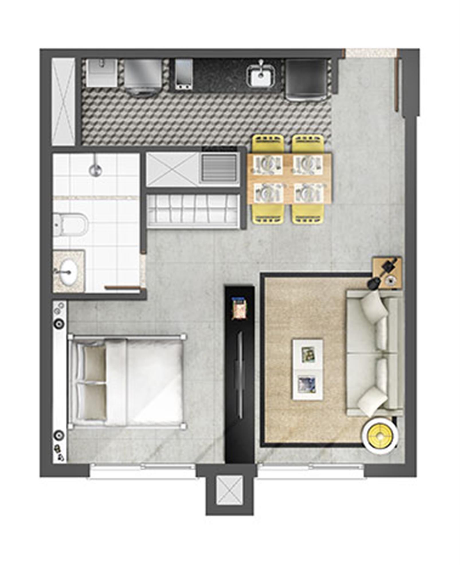 Estudio 45m² | Axis - Home – Apartamentono  Altos de Petrópolis - Porto Alegre - Rio Grande do Sul