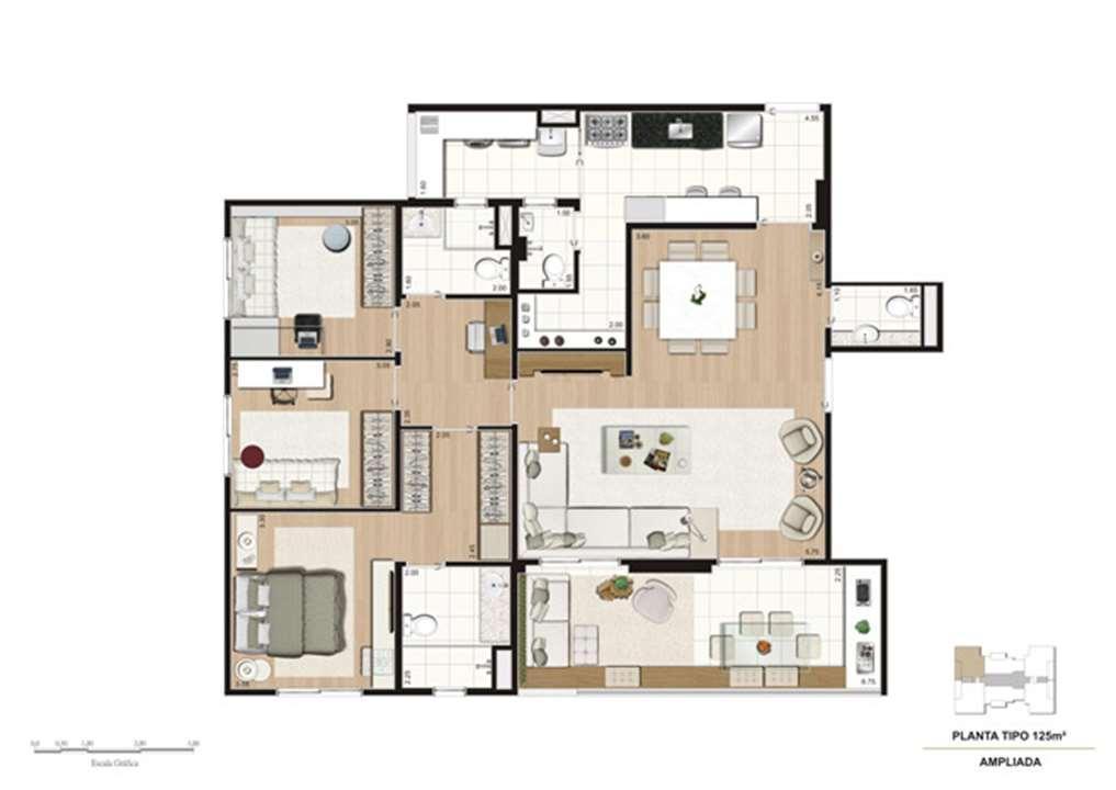 Planta opção Living Ampliado do apartamento de 125 m² - 3 dorms (1 suíte) | Mïstï Morumbi – Apartamentono  Morumbi - São Paulo - São Paulo
