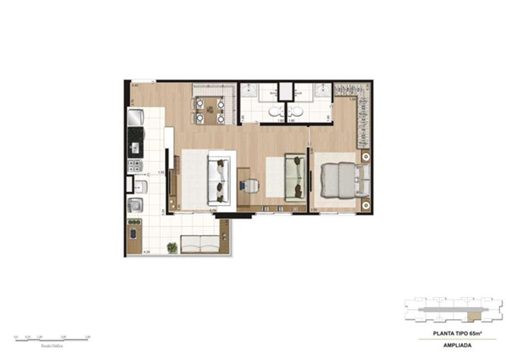 Planta opção Living Ampliado do apartamento de 65 m² - 1 suíte | Mïstï Morumbi – Apartamentono  Morumbi - São Paulo - São Paulo
