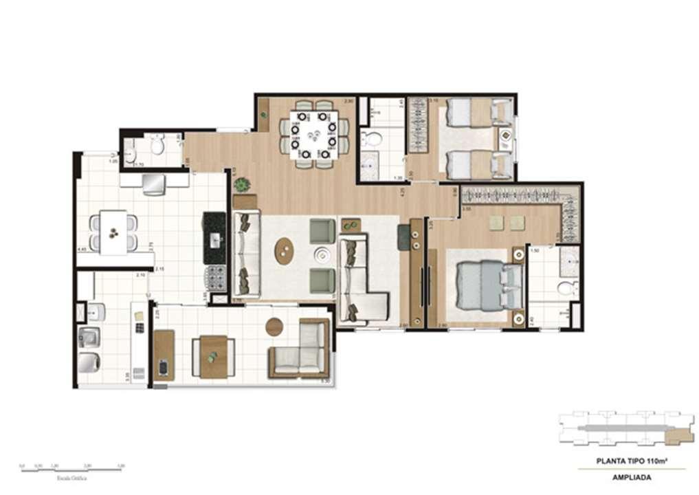 Planta opção Living Ampliado do apartamento de 110 m² - 2 suítes | Mïstï Morumbi – Apartamentono  Morumbi - São Paulo - São Paulo