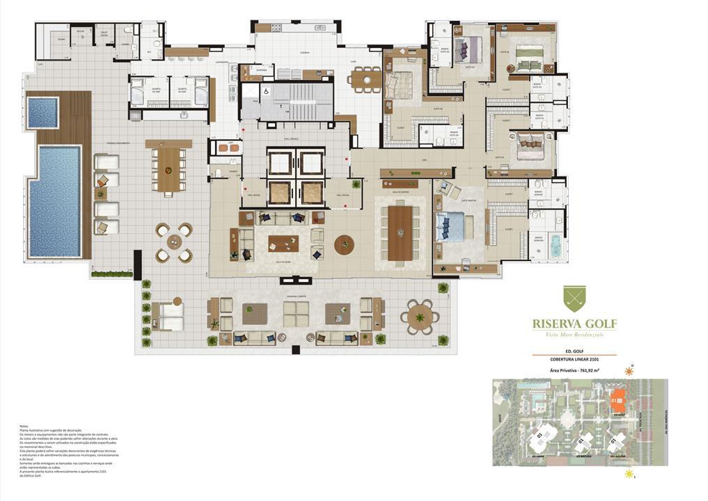 Edifício Golf - Coluna 1 Cobertura linear de 761,92 m² com 5 suítes | Riserva Golf Vista Mare Residenziale – Apartamentona  Barra da Tijuca - Rio de Janeiro - Rio de Janeiro