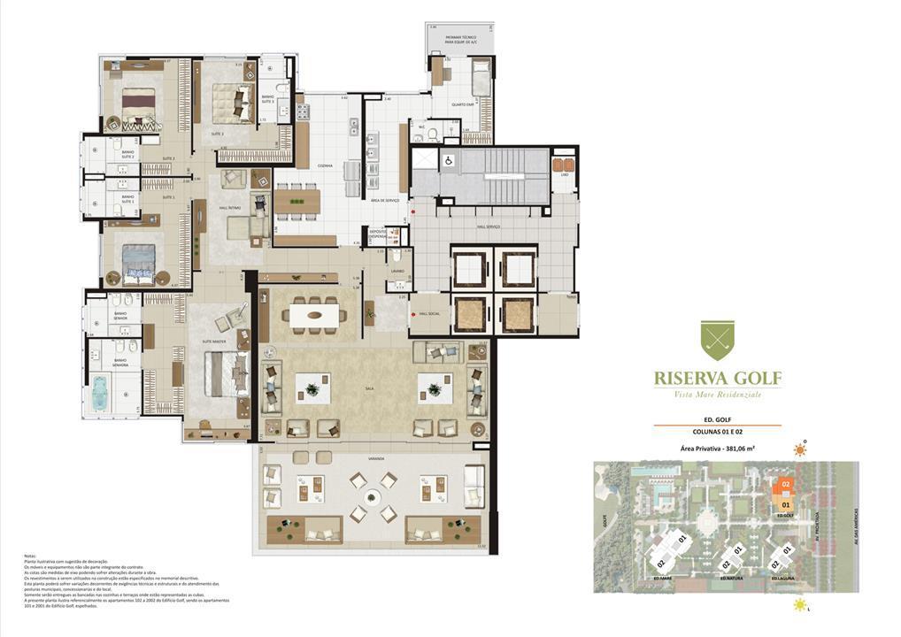 Edifício Golf - Colunas 1 e 2 Apartamentos de 381,06m² com 4 suítes | Riserva Golf Vista Mare Residenziale – Apartamentona  Barra da Tijuca - Rio de Janeiro - Rio de Janeiro