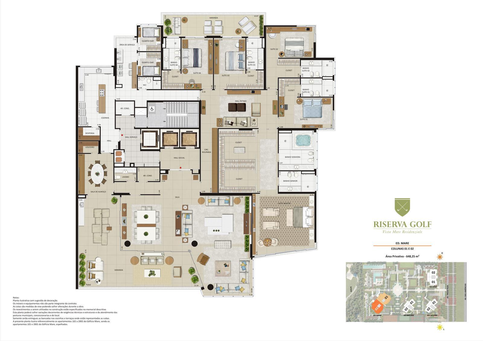 Edifício Mare - Colunas 1 e 2 Apartamentos de 648,25m² com 5 suítes | Riserva Golf Vista Mare Residenziale – Apartamento na  Barra da Tijuca - Rio de Janeiro - Rio de Janeiro