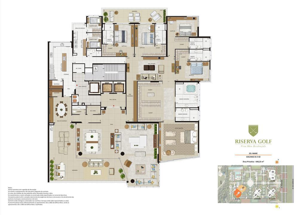 Edifício Mare - Colunas 1 e 2 Apartamentos de 648,25m² com 5 suítes | Riserva Golf Vista Mare Residenziale – Apartamentona  Barra da Tijuca - Rio de Janeiro - Rio de Janeiro
