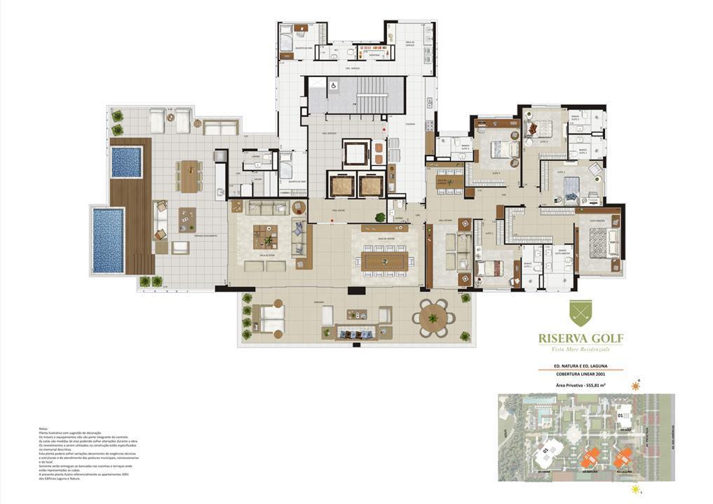 Edifícios Laguna e Natura - Coluna 1 Coberturas lineares de 555,81 m² com 5 suítes | Riserva Golf Vista Mare Residenziale – Apartamentona  Barra da Tijuca - Rio de Janeiro - Rio de Janeiro