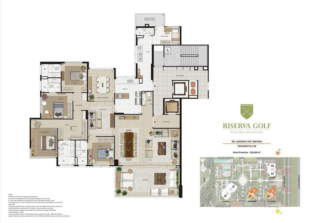 Edifícios Laguna e Natura - Colunas 1 e 2 Apartamentos de 266,88m² com 4 suítes | Riserva Golf Vista Mare Residenziale – Apartamentona  Barra da Tijuca - Rio de Janeiro - Rio de Janeiro