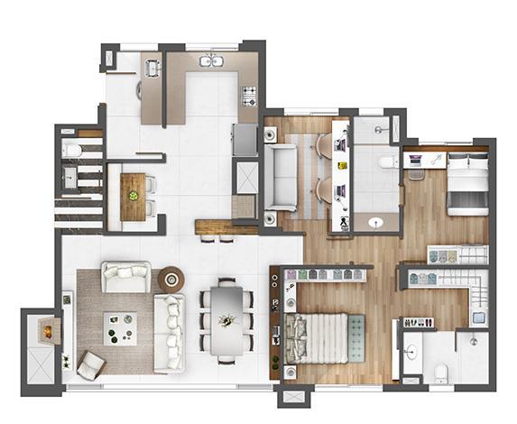 Apto 126m² - opção gabinete | Porto Alegre Incomparável – Apartamento no  Altos de Petrópolis - Porto Alegre - Rio Grande do Sul