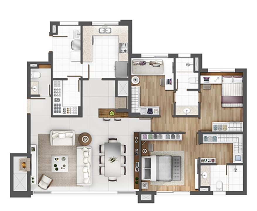 Apto 126m² - opção padrão | Porto Alegre Incomparável – Apartamentono  Altos de Petrópolis - Porto Alegre - Rio Grande do Sul