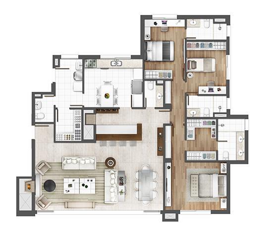 Apto 162m² - opção padrão | Porto Alegre Incomparável – Apartamento no  Altos de Petrópolis - Porto Alegre - Rio Grande do Sul