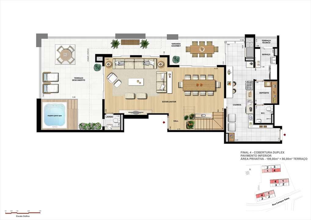Planta da Cobertura Duplex - Inferior - 199m² de área privativa + 86m² de Terraço | Grand Vert – Apartamentono  Juvevê - Curitiba - Paraná