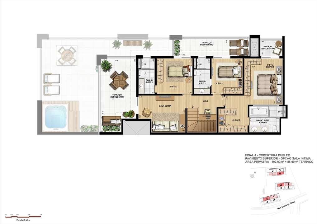 Planta da Cobertura Duplex - Superior - 199m² de área privativa + 86m² de Terraço | Grand Vert – Apartamentono  Juvevê - Curitiba - Paraná