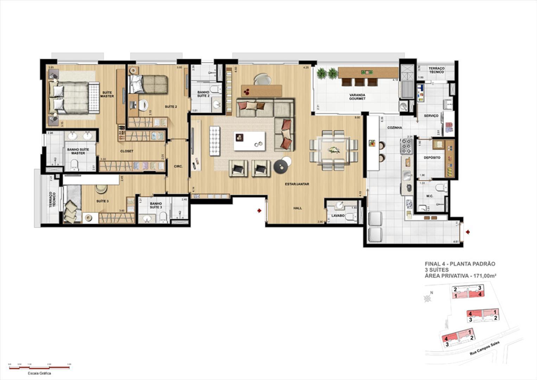 Opção de planta: 3 Suítes 171m² | Grand Vert – Apartamento no  Juvevê - Curitiba - Paraná