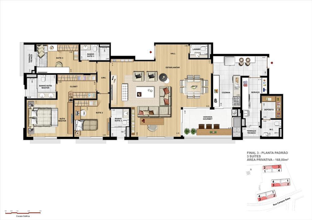 Opção de planta: 3 Suítes Padrão   168m² | Grand Vert – Apartamentono  Juvevê - Curitiba - Paraná