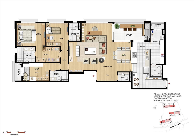 PLANTA OPÇÃO DECORADO - 3 SUÍTES - 171 M² PRIVATIVOS COM ATÉ 329 M² DE ÁREA TOTAL | Grand Vert – Apartamento no  Juvevê - Curitiba - Paraná