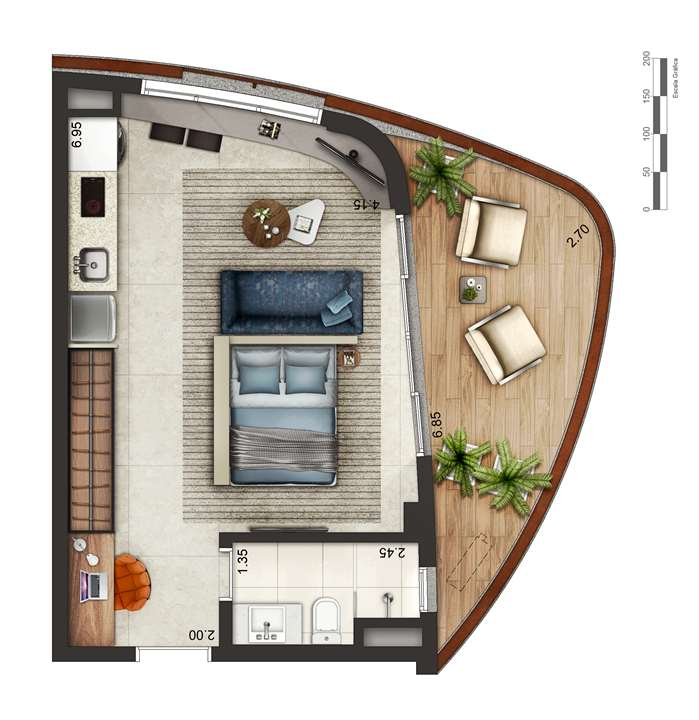 Apartamento tipo 1 - layout B P4 | Cyrela by Pininfarina – Apartamentona  Vila Olímpia - São Paulo - São Paulo