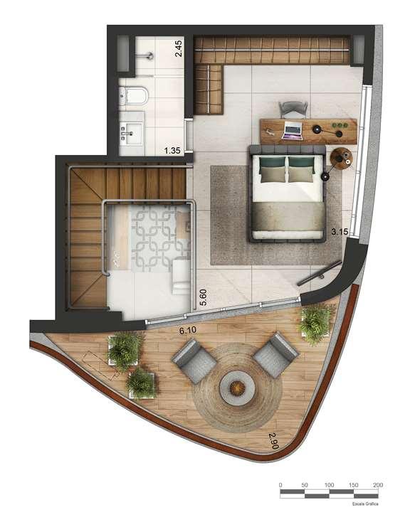 Apartamento tipo 2 - Duplex superior P2 | Cyrela by Pininfarina – Apartamentona  Vila Olímpia - São Paulo - São Paulo