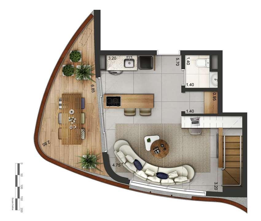 Apartamento tipo 3 - Duplex inferior P2 | Cyrela by Pininfarina – Apartamentona  Vila Olímpia - São Paulo - São Paulo