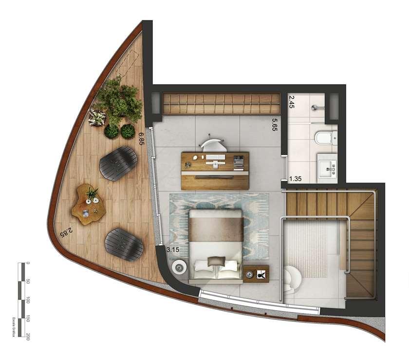 Apartamento tipo 3 - Duplex superior P2 | Cyrela by Pininfarina – Apartamentona  Vila Olímpia - São Paulo - São Paulo