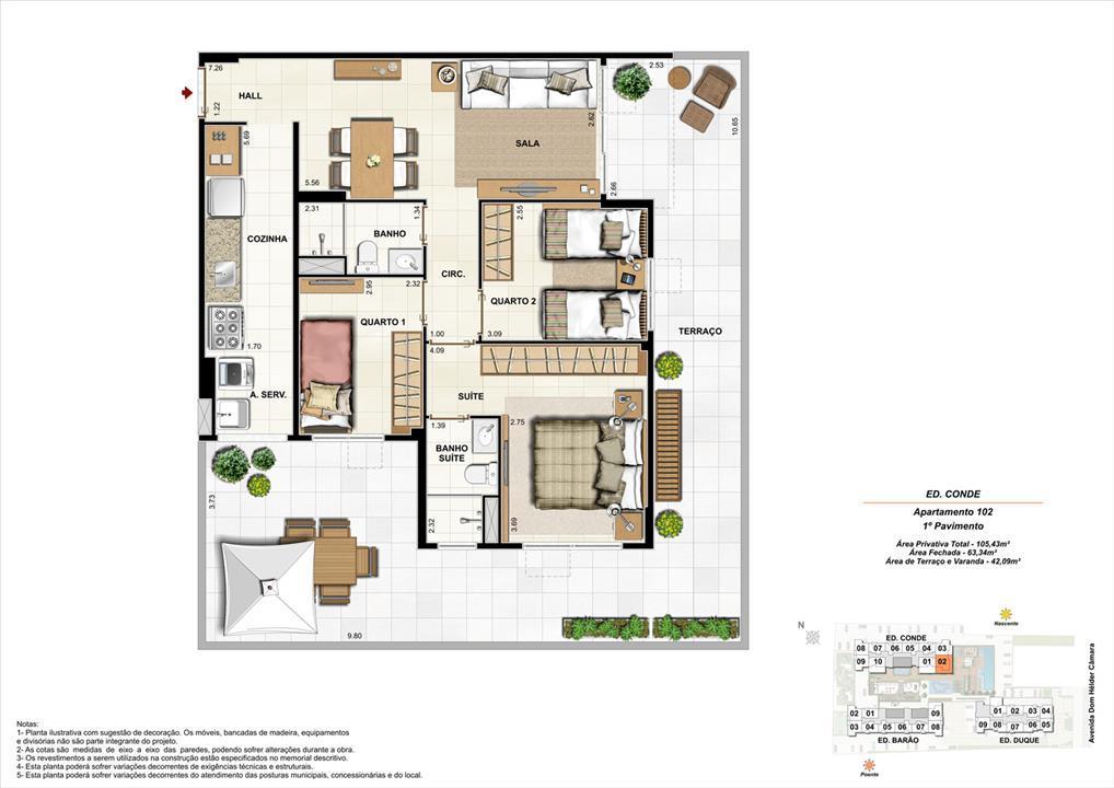 Ed. Conde   1º pavimento   Apartamento 102 de 105,43m2 com 01 suíte | Nobre Norte Clube Residencial – Apartamentono  Grande Méier - Rio de Janeiro - Rio de Janeiro