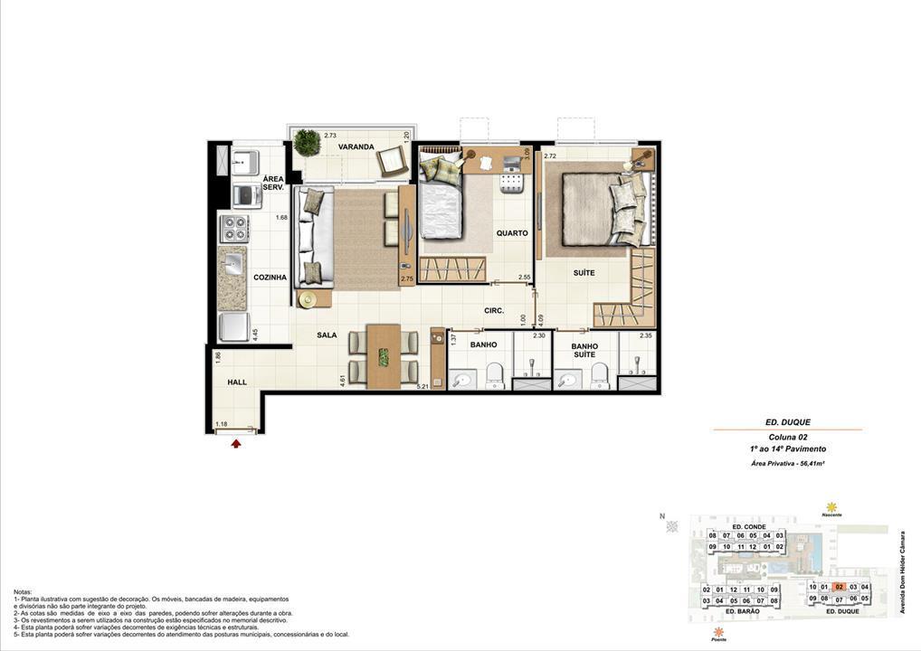 Ed. Duque   Coluna 2   Apartamento de 56,41m2 com 01 suíte | Nobre Norte Clube Residencial – Apartamentono  Grande Méier - Rio de Janeiro - Rio de Janeiro