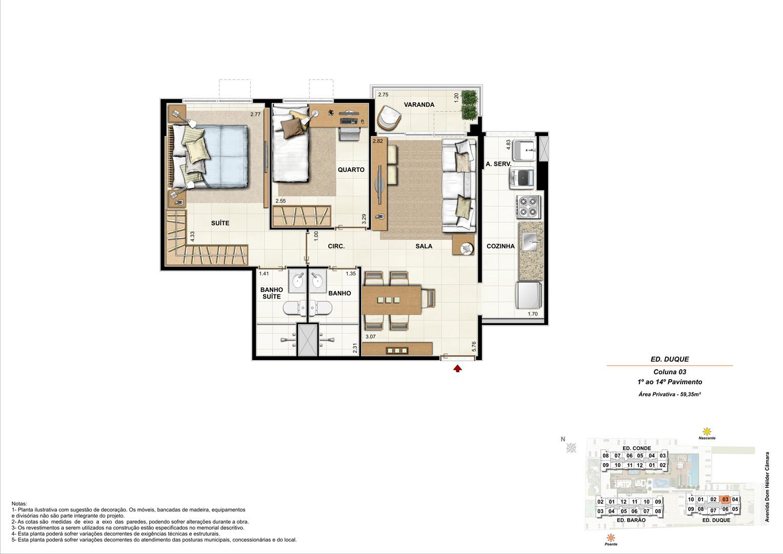 Ed. Duque   Coluna 3   Apartamento de 59,35m2 com 01 suíte | Nobre Norte Clube Residencial – Apartamento no  Grande Méier - Rio de Janeiro - Rio de Janeiro