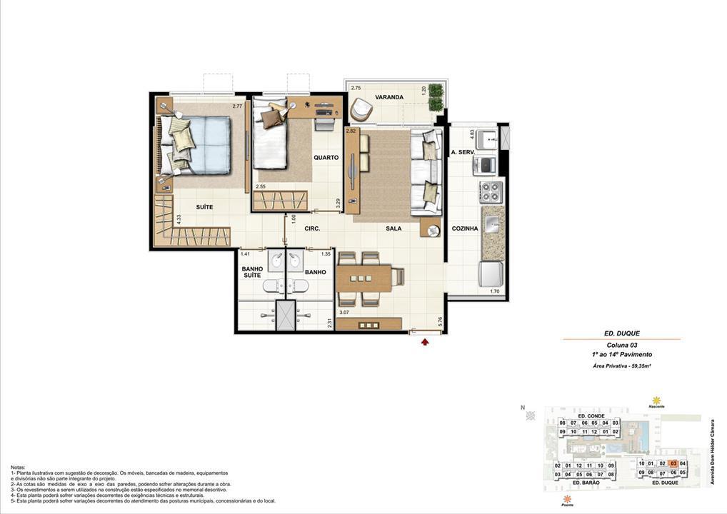 Ed. Duque   Coluna 3   Apartamento de 59,35m2 com 01 suíte | Nobre Norte Clube Residencial – Apartamentono  Grande Méier - Rio de Janeiro - Rio de Janeiro