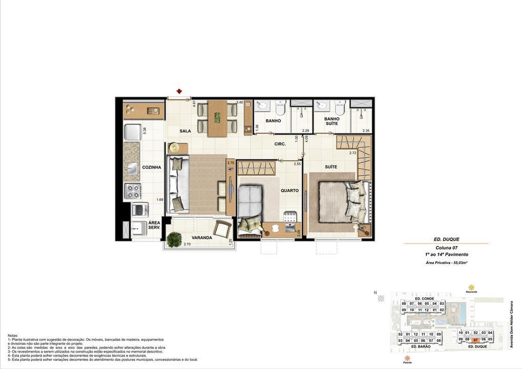 Ed. Duque   Coluna 7   Apartamento de 55,07m2 com 01 suíte | Nobre Norte Clube Residencial – Apartamentono  Grande Méier - Rio de Janeiro - Rio de Janeiro