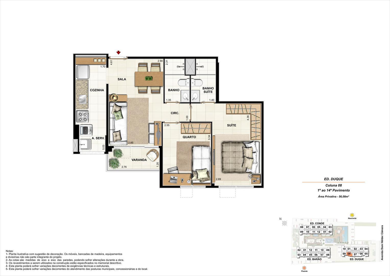 Ed. Duque   Coluna 8   Apartamento de 56,08m2 com 01 suíte | Nobre Norte Clube Residencial – Apartamento no  Grande Méier - Rio de Janeiro - Rio de Janeiro