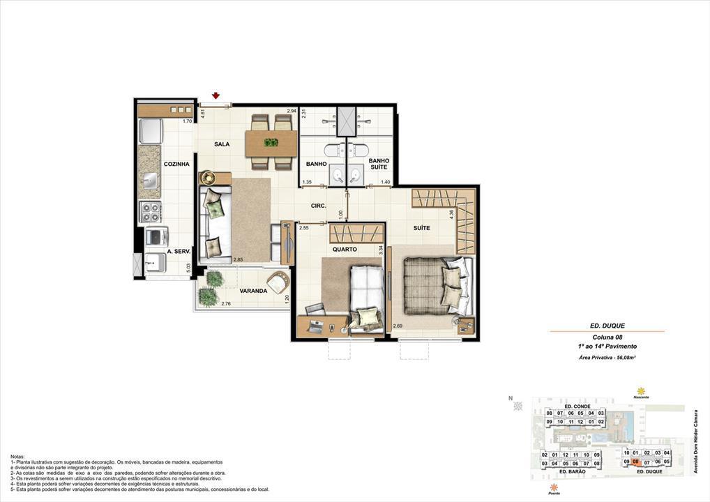 Ed. Duque   Coluna 8   Apartamento de 56,08m2 com 01 suíte | Nobre Norte Clube Residencial – Apartamentono  Grande Méier - Rio de Janeiro - Rio de Janeiro
