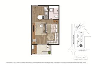 Planta tipo Final 3 29,16m² | Vibe República – Apartamento no  Centro - República - São Paulo - São Paulo