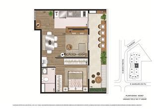Planta tipo Final 1 48,08m² | Vibe República – Apartamento no  Centro - República - São Paulo - São Paulo