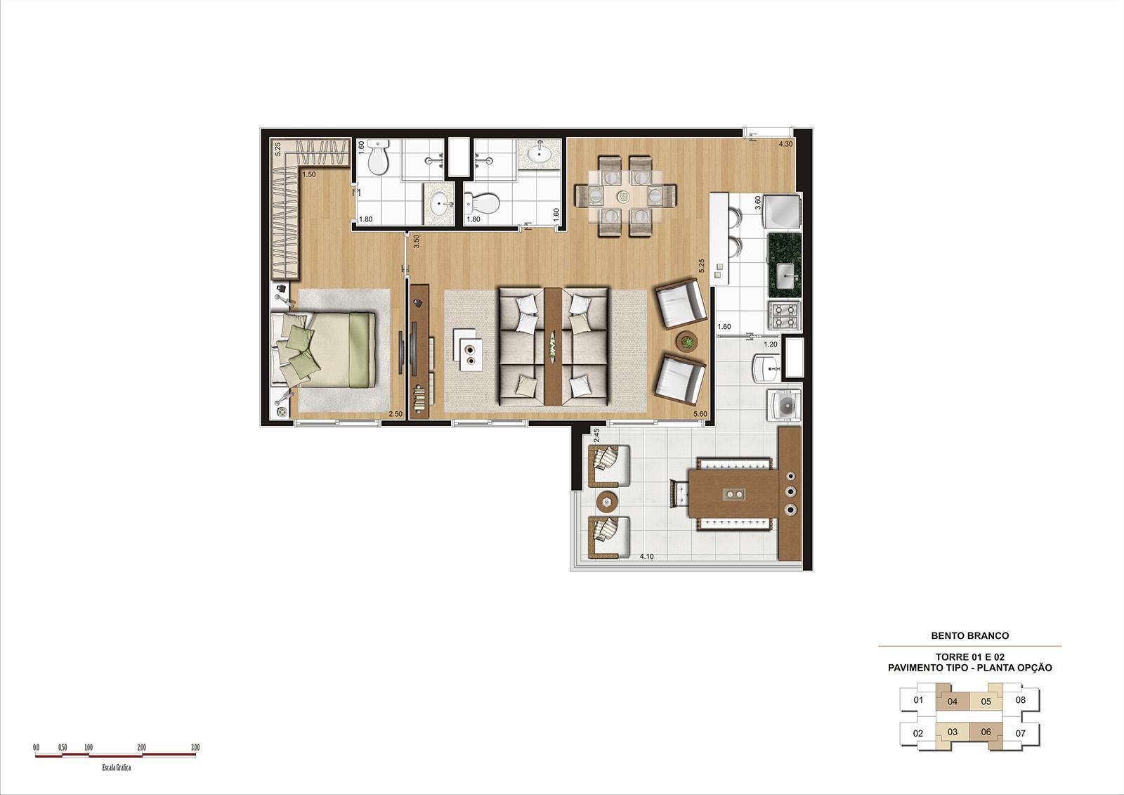 PLANTA 68M² OPÇÃO  | Panamerica Brickell – Apartamento em  Santo Amaro - São Paulo - São Paulo