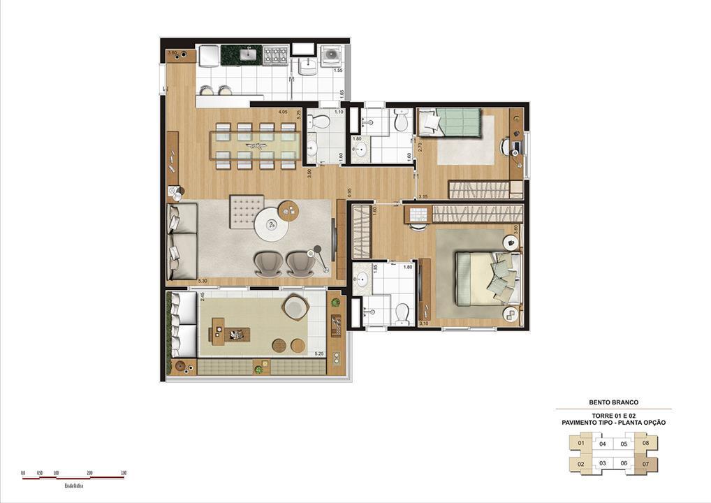 PLANTA 92M² OPÇÃO | Panamerica Brickell – Apartamentoem  Santo Amaro - São Paulo - São Paulo