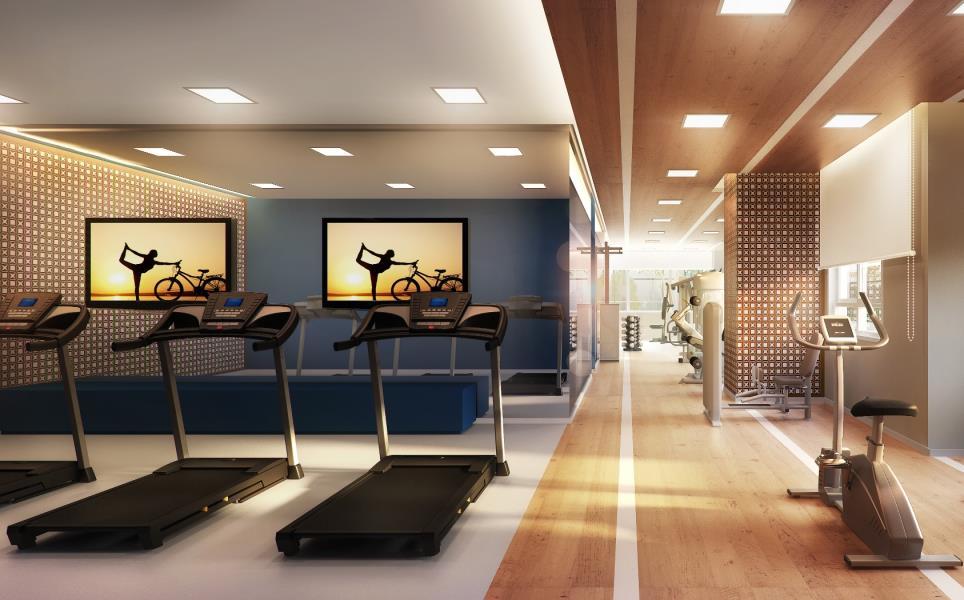 Perspectiva ilustrada do completo espaço Fitness.